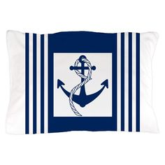 """Everyting about the design on this pillow case screams """"nautical."""" Consider the anchor with a piece of rope intertwined around it, and the nautical stripes on both its sides. Nautical Stripes, Nautical Anchor, Nautical Flip Flops, Anchor Pillow, Accessories Shop, Duvet, Pillow Cases, Tapestry, Throw Pillows"""
