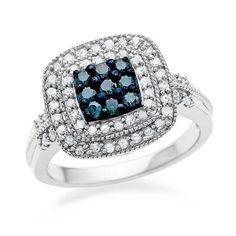 1/4 Carat Blue & White Square Diamond Ring in Sterling Silver #Netaya