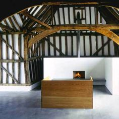 Structural Interiors. John Pawson. Barn Conversion. Donald Judd Daybed. Timber frame interior