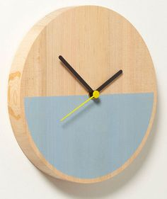 Made from Douglas fir with a screenprinted face, the Primary Clock was designed by London-based David Weatherhead and GOODD for Thorsten van Elten. The circular clock comes in two styles, one with a half circle of color and the other with segmented blocks of color. The half circle style can be hung three different ways displaying the color part either on the bottom, the right side, or at an angle.