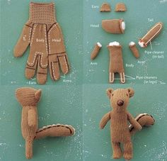 Happy Gloves: Charming Softy Friends Made from Colorful Gloves #craft #diy #toy