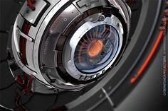Grey cybernetic eye