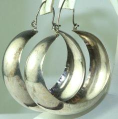 Vtg Large Mexican Sterling Silver Hoop Earrings Hoops