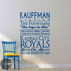 Kansas City Royals Baseball Sports Subway Art by WallSpiceDecals