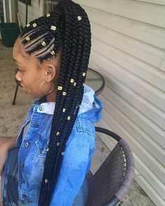 Different Look On Half Up Half Down Feed In With Box Braids Love
