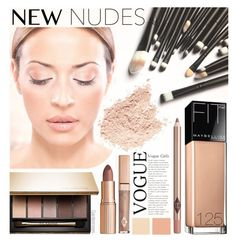 """Fall Beauty: Nude Color Palette"" by gardenrosesgraphics ❤ liked on Polyvore featuring beauty, Seed Design, Clarins and Maybelline"
