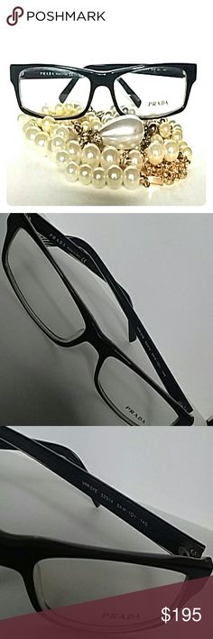 PRADA Glasses Black rimmed Prada glasses in excellent condition never been worn...all they need is your Rx Doesn't come with a case but I will include a generic case to insure that they aren't damaged in shipping Prada Accessories Glasses