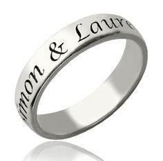 Sterling Silver Engraved Name Ring
