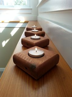 Reclaimed Pallet Tea Candle Holders Wood Set of 4 by TheSandBlock
