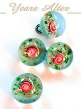 Vintage Venetian LAMPWORK Beads BUTTONS Murano Glass Fiorato Rose Flowers c.1920's!