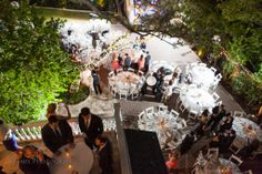 Allan House — Kelly + Mike — Outdoor courtyard, twinkle lights, chandeliers | Peary Photography