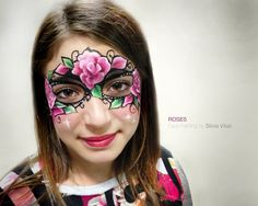 ROSES Face Painting by Silvia Vitali http://www.facepainting.academy/