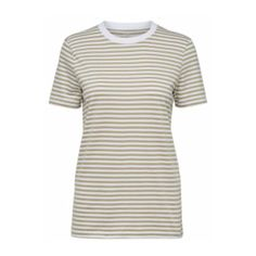 Green My Perfect Tee Slate (13.160 CLP) ❤ liked on Polyvore featuring tops, t-shirts, boxy tee, striped t shirt, white striped t shirt, short t shirt and stripe t shirt