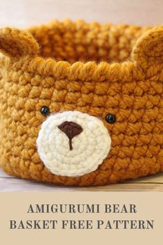This bear shaped basket is a large sturdy basket with animal features. You can use this as a storage solution, for home decor, or for notions. I'm Julia, an amigurumi and crochet designer for beginners and yarn and craft lovers. Check out more of my free amigurumi / crochet patterns & get to know me more on littleworldofwhimsy.com & on Instagram @littleworldofwhimsy. Unique Crochet, Cute Crochet, Crochet For Kids, Basket Weave Crochet Pattern, Crochet Baskets, Amigurumi Patterns, Crochet Patterns, Crochet Home Decor, Crochet Bear