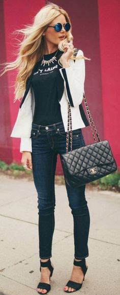 Black And White Barefoot Blonde Outfit