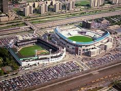 Comiskey Park on the left and U.S. Cellular Field on the right before Comiskey was demolished in 1991. The old and current homes of the Chicago White Sox.