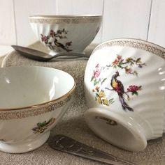 White porcelain cafe au lait bowl.French vintage tea bowl peacock flower design transferware.Gold rim faceted french breakfast dish gift by frenchvintagebazaar on Etsy