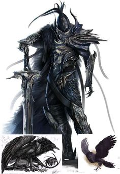 Valravn (Danish) - Most of the time the Valravn appears as a oversized raven creature with intelligent gleaming eyes. After they ate the heart of a pure hearted creature however they turn into powerful evil fae-knights for a couple of days, depending on the power of the heart they have eaten. If they by accident eat the heart of a evil individual they turn into griffon-like creatures, half wolf and half raven.