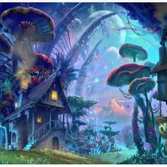 Trippy art psychedelic mushrooms New Ideas Fantasy Art Landscapes, Fantasy Landscape, Fantasy Artwork, Landscape Design, Fantasy Places, Fantasy World, Fantasy Forest, Mushroom Art, Giant Mushroom