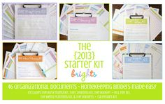 The 2013 Clean Mama Printables Starter Kit in BRIGHTS by CleanMamaPrintables