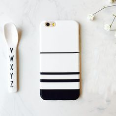 South Korea New Design Black White stripe Soft Case Cover For Apple iphone 7 7plus 6 6s 6plus 6splus Soft Gel Rubber Cases funda