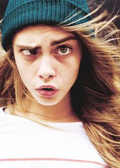 Cara Delevinge doing that weird eye thing #funnyface <3