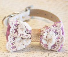 Lavender Dog Fliege Lace Leinwand Bow Rustikal boho von LADogStore