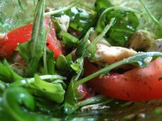 Chicken salad with fresh veggies, rucola in dill sauce. Try :D