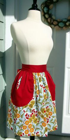 UpCycled Half Apron  50's Style Leaves & Berries by DrapesofWrath, $30.00