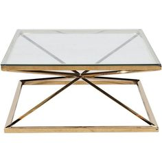 Show details for GERO coffee table 100x100 clear/gold