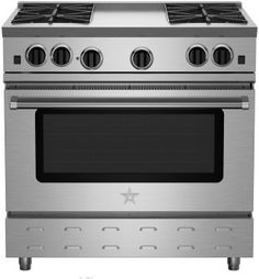 BlueStar RNB364CBV2 36 Inch Pro-Style Gas Range with 4 Open Burners, 22,000 BTU Power Burners, Simmer Burner, 5.0 cu. ft. Convection Oven, Manual Clean, Infrared Broiler and 12 Inch Charbroiler