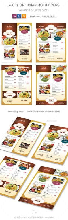 Indian Restaurant Menu Flyers 4 Options By Mike Pantone Save With Bundle Print Is Also Available