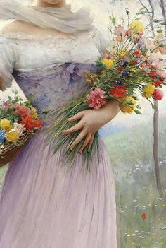 Traveling through history of Art...A Pensive Moment, detail, by Eugene de Blaas, 1843-1932.