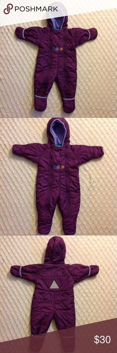 L.L. Bean Toddler Snowsuit LLBean toddler snowsuit, excellent condition, 18 months, purple, feet and hands fold over to be covered L.L. Bean Jackets & Coats Puffers