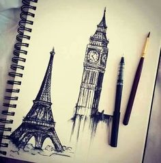 Eiffel Tower and London clock thing