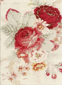MY FAVORITE - Waverly Norfolk Vintage Rose fabric. I love faded florals on linen. You can go for a feminine faded chintz feel or mix with tartans/plaids in the same color family for a coordinated country look. Vintage Rosen, Waverly Fabric, Rose Cottage, Vintage Fabrics, Vintage Floral Fabric, Red Roses, Color Schemes, Floral Prints, Rose Prints