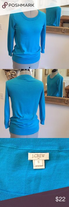 J.. Crew blue Pretty little sweater, 3/4 length sleeves and size S. Soft and good condition J. Crew Sweaters Crew & Scoop Necks