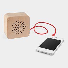"Formnation wood speaker (retailer: MoMA Store) 31/2 x 31/2 x 1-1/2"""