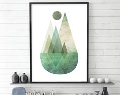 Nordic Mountain Scene, Minimalist Poster, Scandinavian Print, Scandinavian Art, Scandinavian Poster, Mountains, Reflection, Green, Nordic by UrbanEpiphanyPrints on Etsy