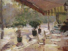 Konstantin Korovin (Russian 1861–1939) [Impressionism, Art Nouveau] Paris cafe, 1890.