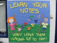 "Music Bulletin Board - ""Learn your notes. don't leave them hanging out to dry! Teacher Bulletin Boards, Spring Bulletin Boards, General Music Classroom, Music Activities, Elementary Music, Classroom Inspiration, Music Lessons, Piano Lessons, Teaching Music"