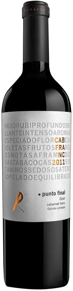 """""""Punto Final Gran Cabernet Franc"""" 2011 - Bodega Renacer, Luján de Cuyo, Mendoza----------- Terroir: Perdriel------------------------- Crianza: 24 meses en barricas de roble francés"""