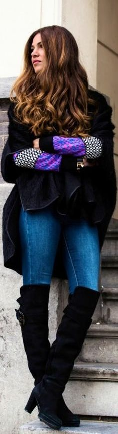 #Black #Poncho With A #Purple Touch by Negin Mirsalehi