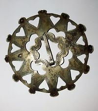 """Incredible Large 2.75"""" French-Indian Fur Trade Silver Brooch ~ Hallmarked"""