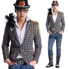 Blue Fitted Casual Emo Goth Fashion Blazers Suit Jackets for Men Prom  SKU-11401293