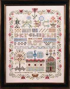 "This is a Dutch Sampler featuring a windmill, peacock, house and tree with a lovely floral edge.  The stitch count is 162 x 228 with a design size of 10.25"" x 14.24"".  There is a matching small pattern as well: ABC Pyn Roll and Crown Tulip Thread Keep (4673G).   Supplies required:  16"" (6"" included for finishing) 32-count Light Mocha Belfast (3609-309)    The threads needed to stitch this design are available in an embellishment pack (4672GE)."