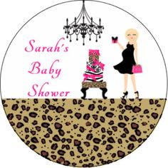 Leopard Print Personalized Baby Shower Edible Image Cupcake Cake Frosting Sheet  #LittlePeapod