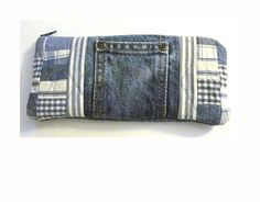 Recycled Jean clutch purse.