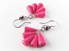 Bright pink leaf patterned paper quilled earrings by Paperica