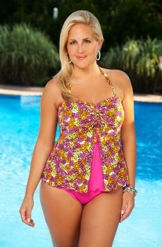 a0dec151568 Summers calling flatter your figure in this flirty plus size swimsuit . The  long awaited arrival of the Always For Me Chic Prints Baja 2 Pc Tankini Plus  ...